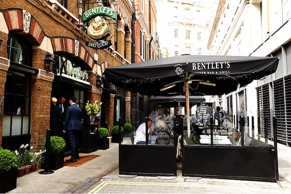 The terrace at Bentley's Oyster Bar & Grill