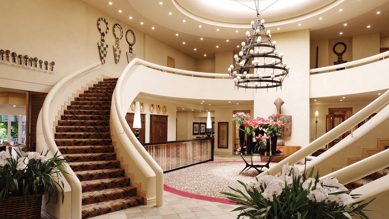 The lobby entrance at The Saxon Hotel