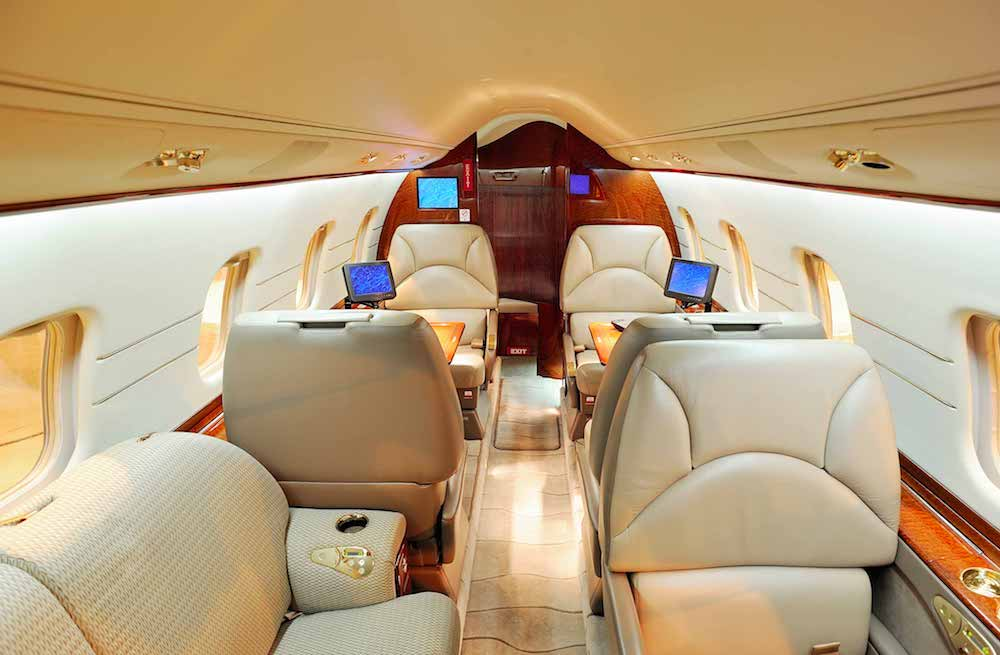 interiors on a private jet charter