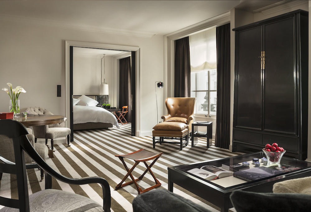 The bedroom in one of the suites at Rosewood London
