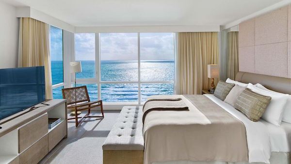 The bedrooms at 1 Hotel South Beach Miami