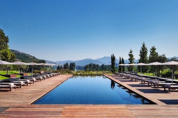 the swimming pool at six senses Douro Valley
