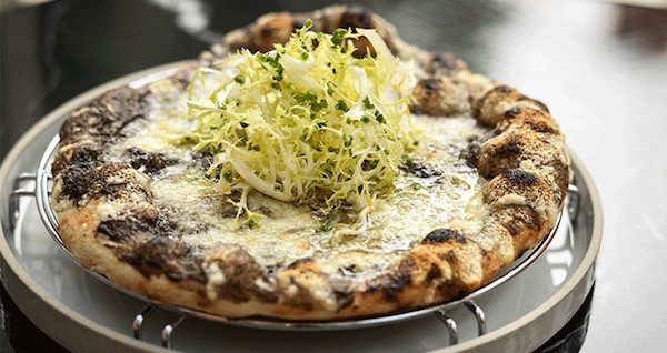 Truffle pizza at Jean-Georges at The Connaught