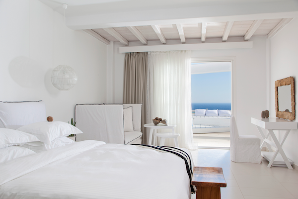 The bedrooms at Myconian Villa Collection in Mykonos
