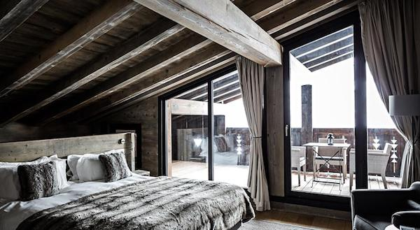 The bedrooms at L'Alpaga Hotel Megeve