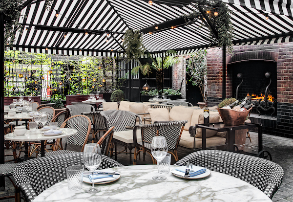 The courtyard at Chiltern Firehouse