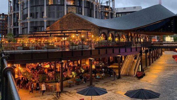 The outdoor restaurants at Coal Drops Yard, King's Cross
