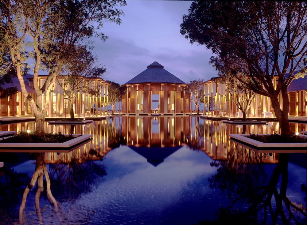 Grand reflecting pond entrance at Amanyara in the Turks and Caicos