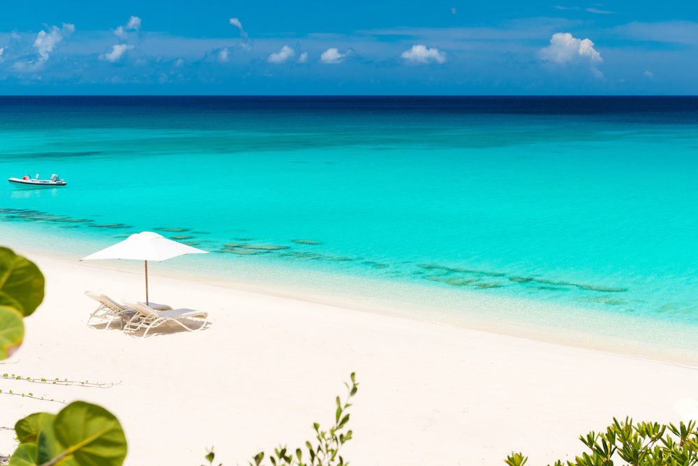The beach at Amanyara, one of the best beaches in Turks and Caicos