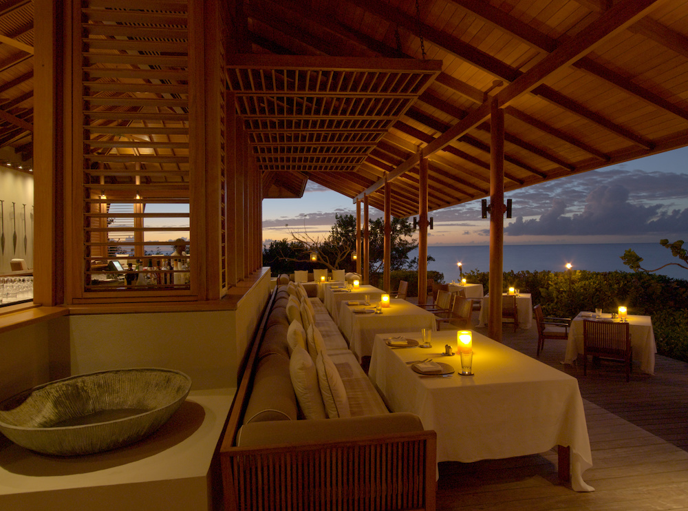 The beach Club restaurant at Amanyara