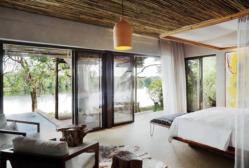 The bedrooms at Matetsi River Lodge