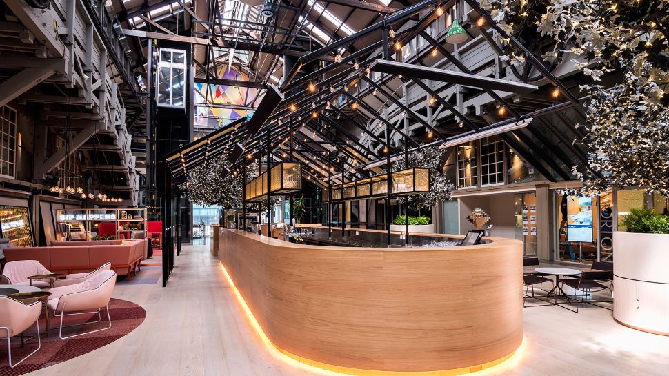 the beautiful lobby and bar at Ovolo Woolloomooloo hotel in Sydney