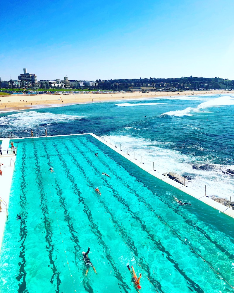 Iconic view of Bondi Beach from Icebergs in Bondi