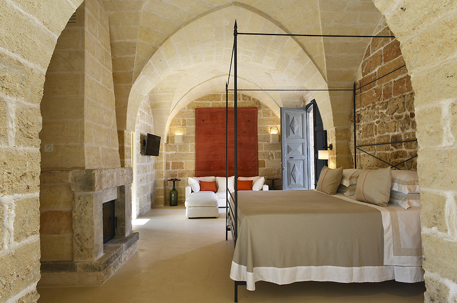 one of the suites at Masseria Trapana