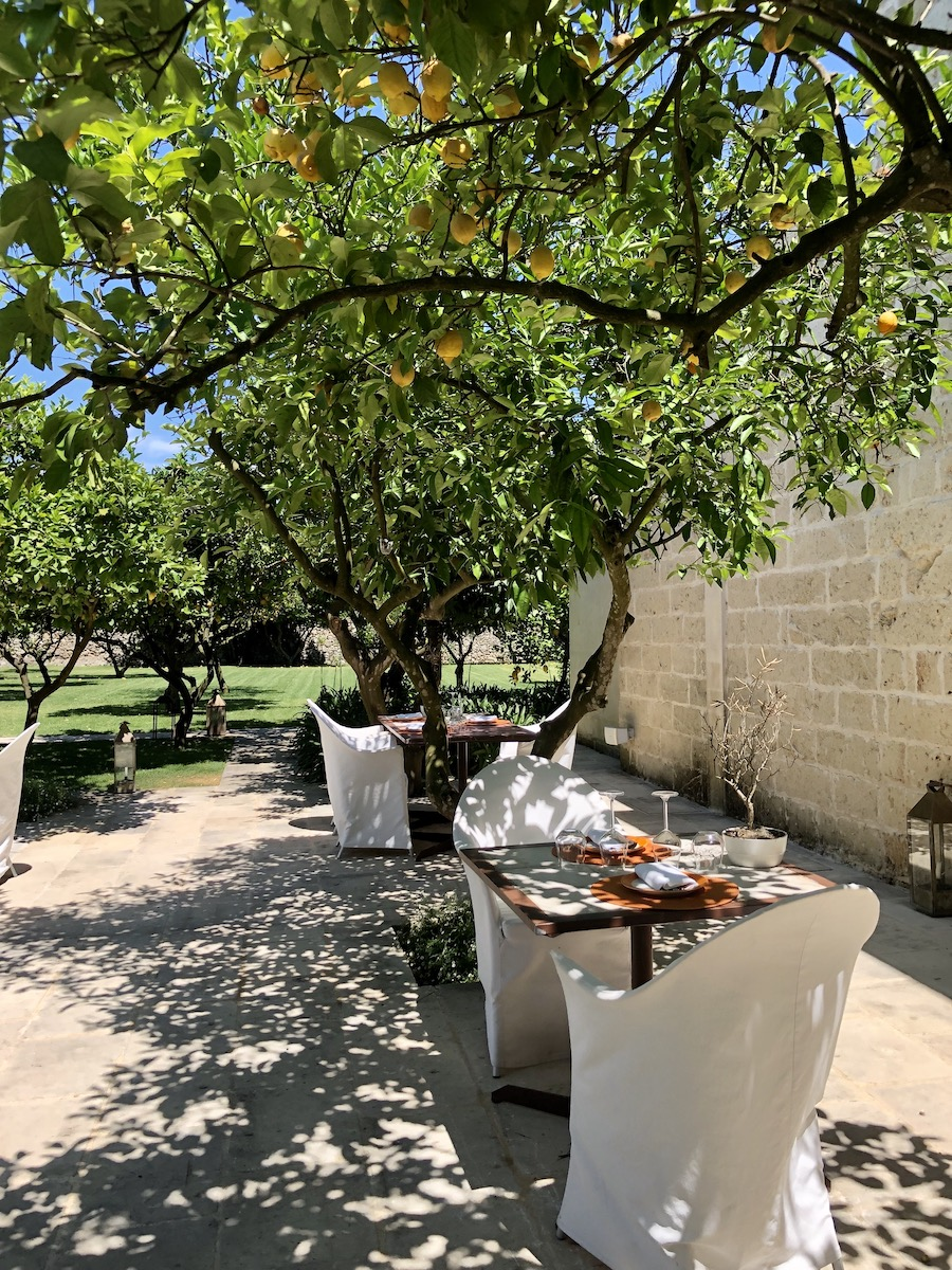 The restaurant under the lemon trees at Trapana in Puglia