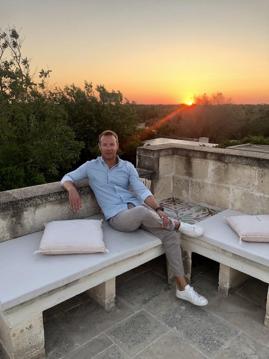 Emyr Thomas enjoying the rooftop at Trapana n Puglia